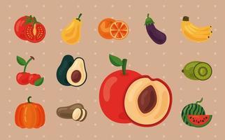 paquete de doce frutas y verduras frescas, iconos de alimentos saludables