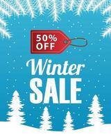 gran cartel de venta de invierno con etiqueta colgada en la escena del paisaje nevado vector