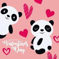 tarjeta de feliz dia de san valentin con pareja panda vector