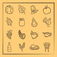 bundle of sixteen thanksgiving day icons vector