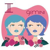 beautiful woman with gemini zodiac sign vector