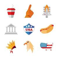 USA celebration icon set vector