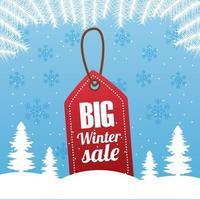 gran cartel de venta de invierno con etiqueta colgada en un paisaje de bosque vector