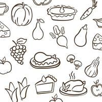 Thanksgiving day pattern background with icons vector