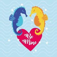 feliz dia de san valentin con pareja de caballitos de mar vector