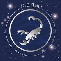 Escorpio signo del zodíaco diseño plateado vector
