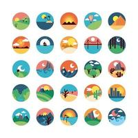 Cute landscape scenes icon set vector