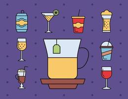 bundle of nine beverages icons vector