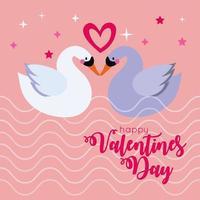 tarjeta de feliz día de san valentín con linda pareja de cisnes vector