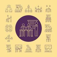 paquete de avatares de trabajadores, iconos de estilo de línea de coworking en fondo amarillo