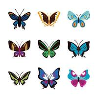 lindo conjunto de iconos planos de mariposas vector