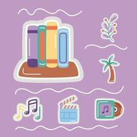 stickers flat style icon set with books vector