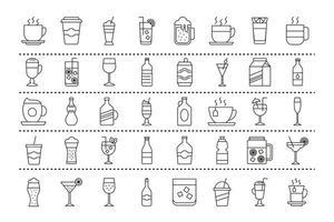 paquete de cuarenta iconos de bebidas