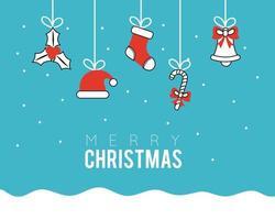 pancarta de feliz navidad con adornos colgando vector