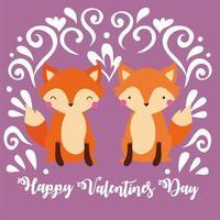 feliz dia de san valentin con pareja zorro vector