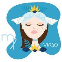 hermosa mujer con signo del zodíaco virgo vector