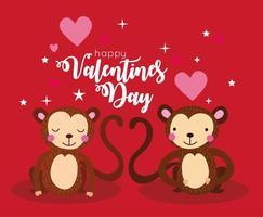 tarjeta de feliz dia de san valentin con pareja de monos vector