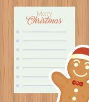 merry christmas card with ginger cookie vector