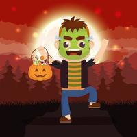 Halloween dark scene with pumpkin and kid in a monster costume vector