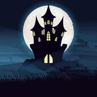 Halloween dark night  scene with haunted castle vector