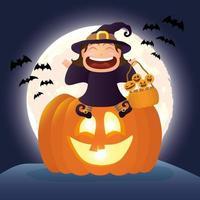 escena oscura de halloween con calabaza y niño disfrazado de bruja vector