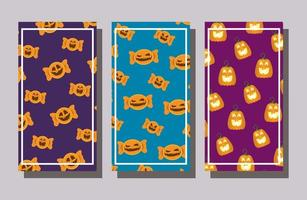 Paquete de dulces de halloween y fondo de patrones de calabazas