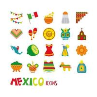 Mexican culture flat icon set vector