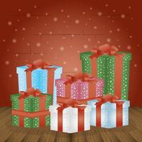 merry christmas card with gift boxes presents