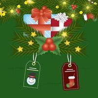 merry christmas card with gifts and tags hanging
