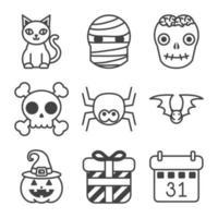 conjunto de iconos de halloween vector