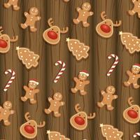 merry christmas card with ginger cookies pattern vector