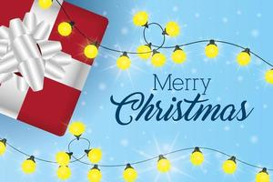 merry christmas card with giftbox and lights vector