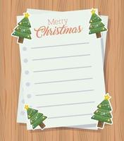 tarjeta de feliz navidad con hojas de letras vector