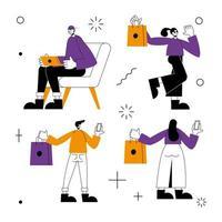Tienda online y gente conjunto de iconos de diseño vectorial