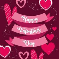Happy Valentine's Day card with ribbon and hearts vector
