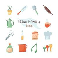 Kitchen and food flat icon set vector