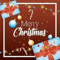 tarjeta de feliz navidad con marco de regalos