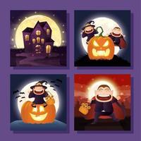 paquete de escenas de halloween vector