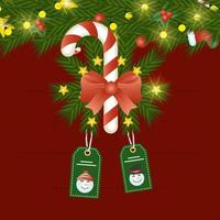 merry christmas card with candy cane and tags hanging
