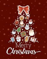 tarjeta de feliz navidad con personajes en forma de árbol vector