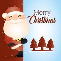 merry christmas card with cute santa claus vector