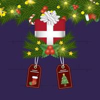 merry christmas card with gift and tags hanging