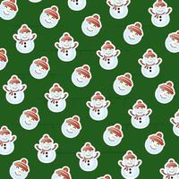merry christmas card with snowman pattern vector