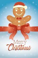 tarjeta de feliz navidad con galleta de jengibre