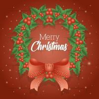 tarjeta de feliz navidad con decoración de guirnaldas vector