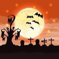 Halloween dark cemetery night scene vector