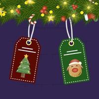 tarjeta de feliz navidad con corona y etiquetas colgando vector