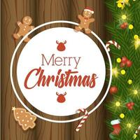 merry christmas card with sweet ginger cookies in wooden background vector