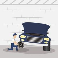 man mechanic working in a car, changing the tires vector