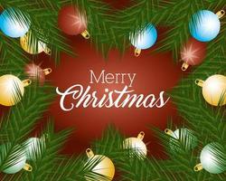 banner de feliz navidad con adornos vector